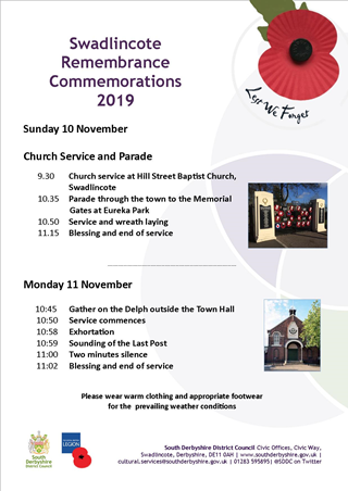 Swadlincote Remembrance Commemorations 2019